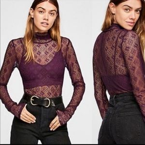 Free People Sweet Memories Lace Turtleneck Top XS
